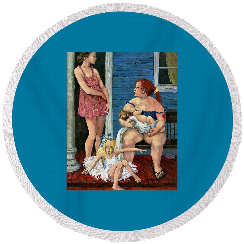 People Round Beach Towel featuring the painting A Certain Dignity by Patty Fleckenstein