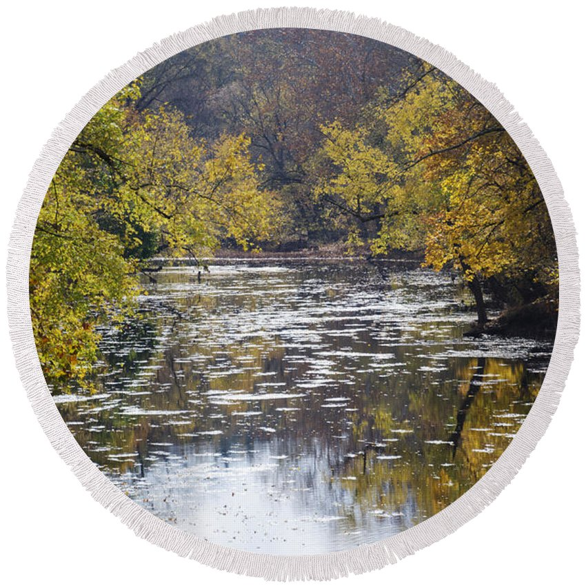 Change Round Beach Towel featuring the photograph A Change Of Season Along Skippack Creek by Bill Cannon