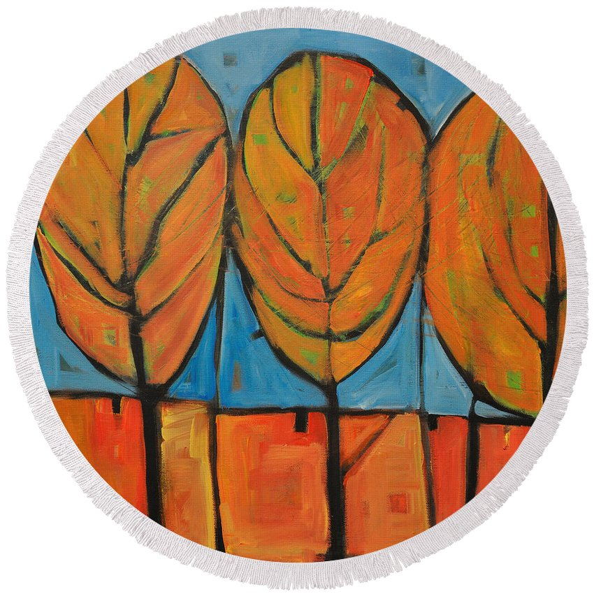 Fall Round Beach Towel featuring the painting A Change Of Seasons by Tim Nyberg