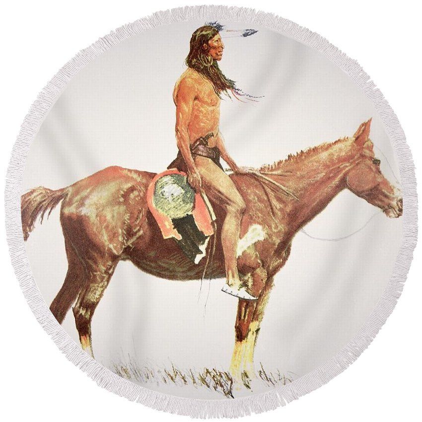 A Cheyenne Brave Round Beach Towel featuring the painting A Cheyenne Brave by Frederic Remington