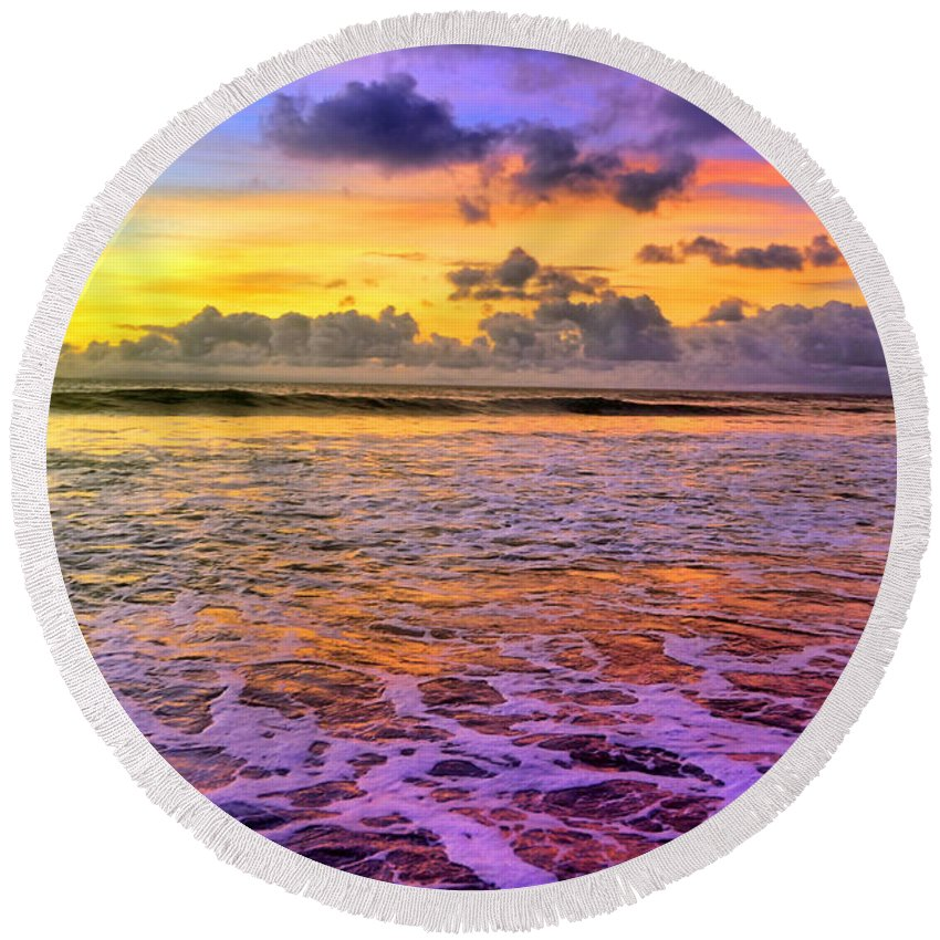 Molokai Round Beach Towel featuring the photograph A City In The Clouds by Tara Turner