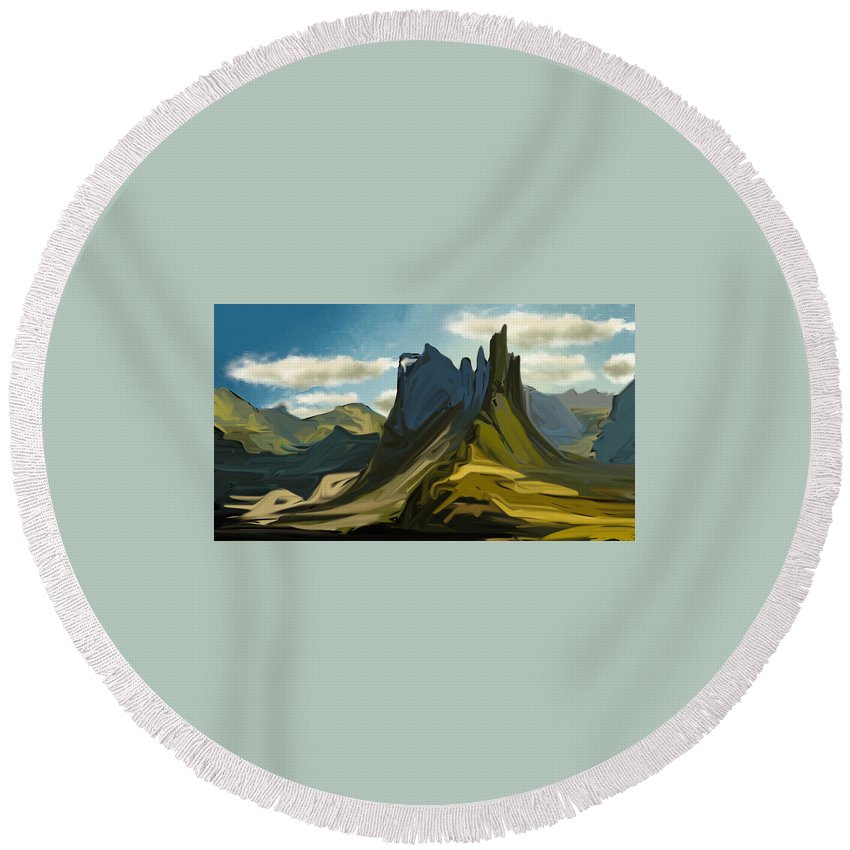 Landscape Round Beach Towel featuring the digital art A Climb by Jessica E Hayes