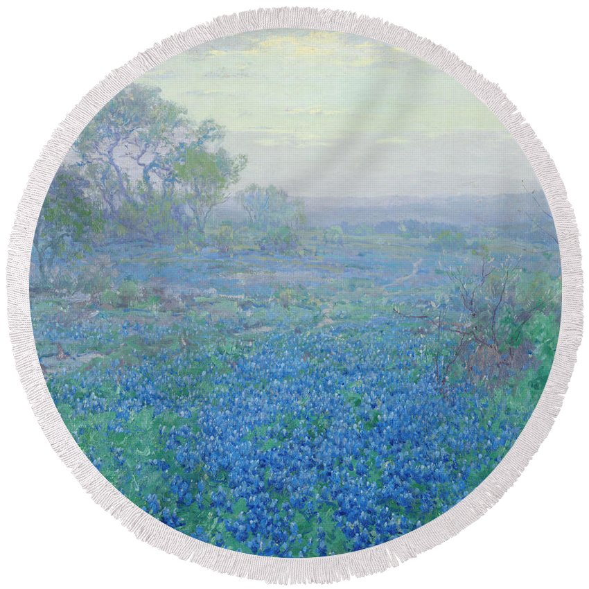 Blue Bonnets Round Beach Towel featuring the painting A Cloudy Day, Bluebonnets Near San Antonio, Texas by Julian Onderdonk