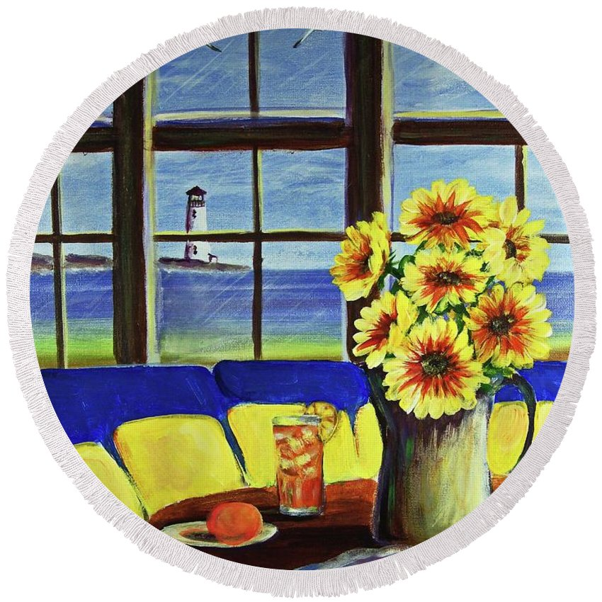 Beaches Round Beach Towel featuring the painting A Coastal Window Lighthouse View by Patricia L Davidson