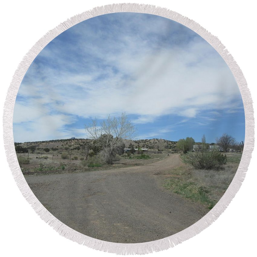 A Round Beach Towel featuring the photograph A Concho Ranch by Frederick Holiday