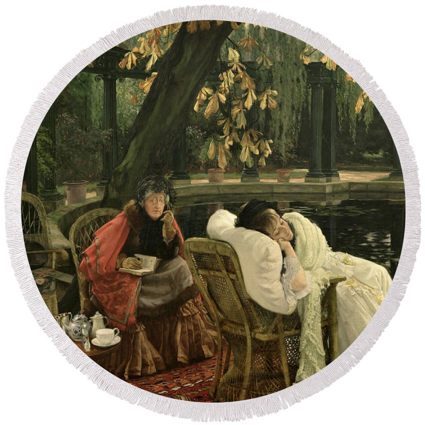 Illness; Lazing; Teatime; Unwell; Invalid; Nurse; Chaperone; Horse; Chestnut; Tree; Victorian; English; Girl; Colonnade; Pool; Autumn; Resting; Tissot; Tissot Garden; St John Wood Round Beach Towel featuring the painting A Convalescent by James Jacques Joseph Tissot
