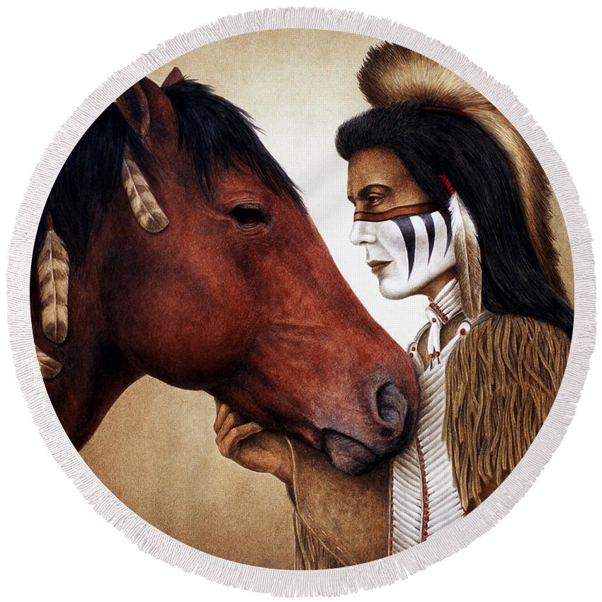 Horse Round Beach Towel featuring the painting A Conversation by Pat Erickson