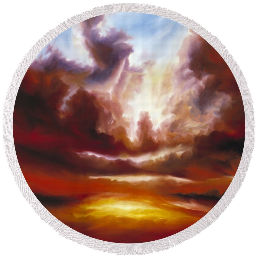 Tempest Round Beach Towel featuring the painting A Cosmic Storm - Genesis V by James Christopher Hill