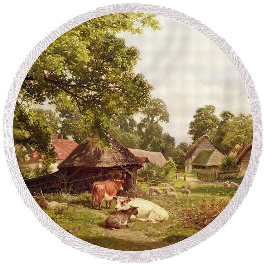 Cottage Round Beach Towel featuring the painting A Cottage Home In Surrey by Edward Henry Holder