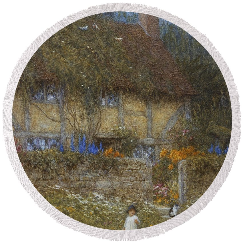 Landscape; Rural; English; Half-timbered; Victorian; Garden; Delphiniums Round Beach Towel featuring the painting A Cottage Near Godalming Surrey by Helen Allingham