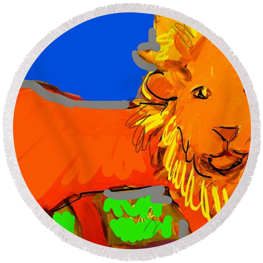 Lion Round Beach Towel featuring the mixed media A Curious Lion by Samuel Zylstra