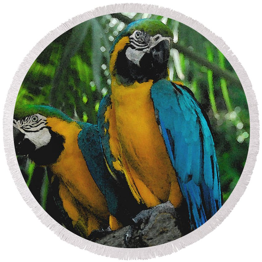 Tropical Round Beach Towel featuring the painting A Curious Pair by David Lee Thompson