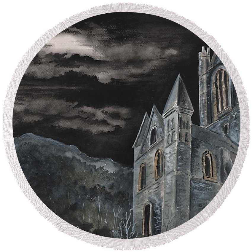 Landscape Gothic House Castle Church Dark Sky Watercolor Round Beach Towel featuring the painting A Dark Strange Night by Brenda Owen