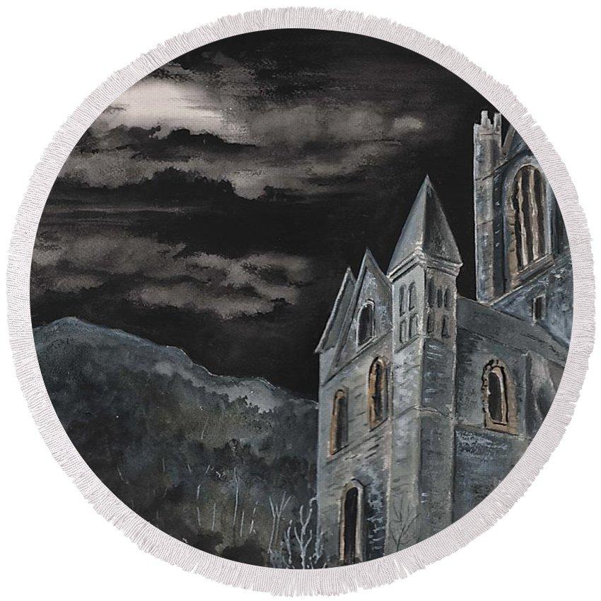 Landscape Gothic House Castle Church Dark Sky Watercolor Round Beach Towel featuring the painting A Dark Strange Night by Brenda Owen