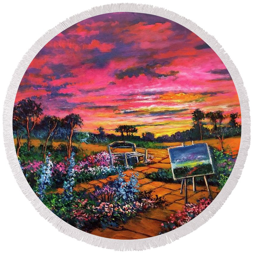 Sunset Round Beach Towel featuring the painting A Darkness So Light by Randy Burns