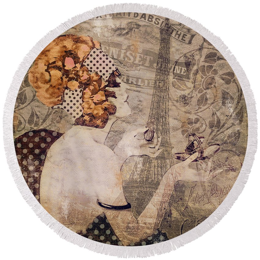 Paris Round Beach Towel featuring the painting A Date With Paris II by Mindy Sommers