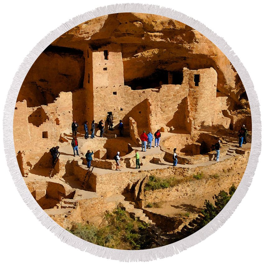 Art Round Beach Towel featuring the painting A Day At Mesa Verde by David Lee Thompson