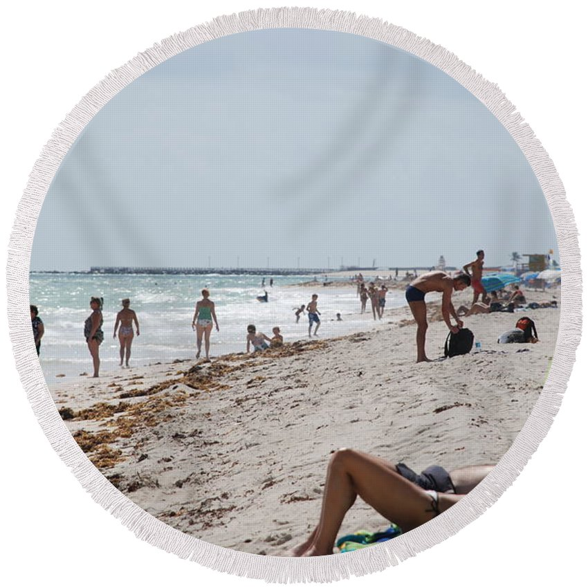 Nude Round Beach Towel featuring the photograph A Day At Paradise Beach by Rob Hans