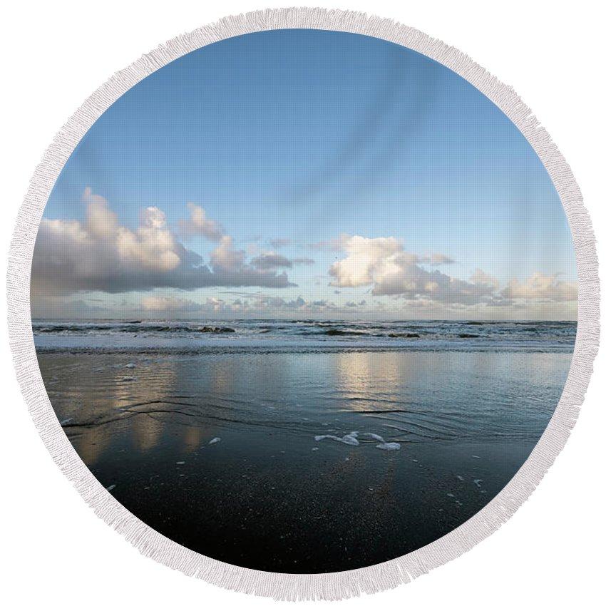 Beach Round Beach Towel featuring the photograph A Day At The Beach by Bob Van den berg