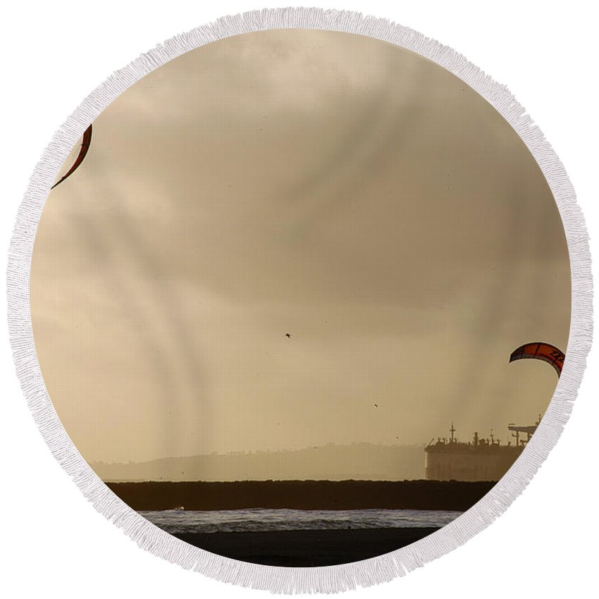 Clay Round Beach Towel featuring the photograph A Day At The Beach by Clayton Bruster