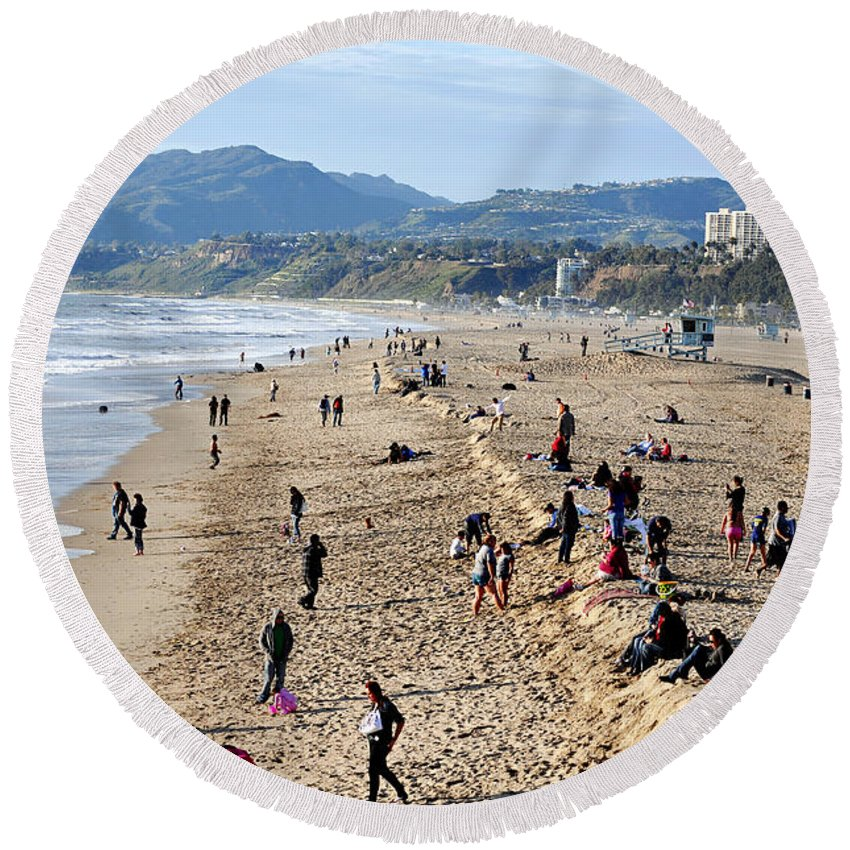 Clay Round Beach Towel featuring the photograph A Day At The Beach In Santa Monica by Clayton Bruster