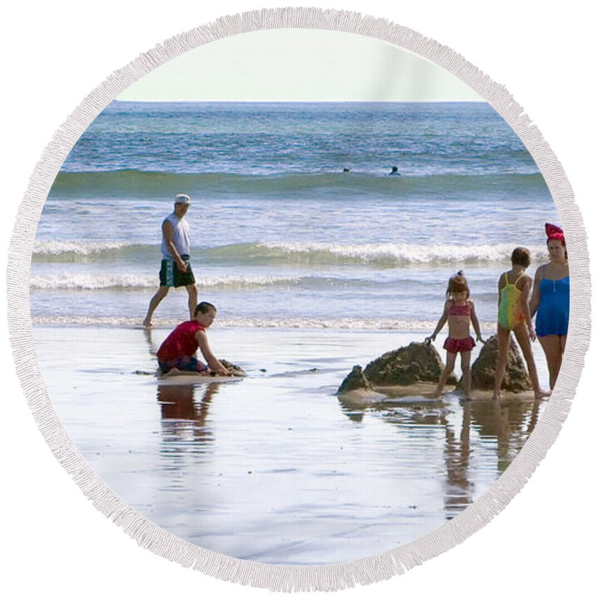 Beach Round Beach Towel featuring the photograph A Day At The Beach by Madeline Ellis