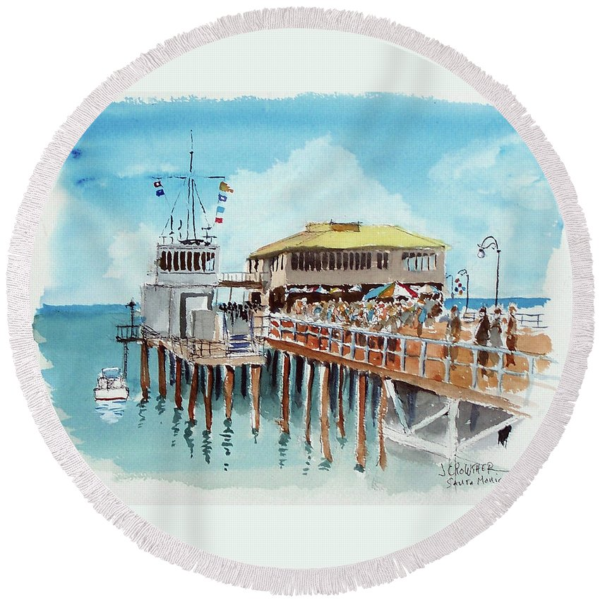 Marine Round Beach Towel featuring the painting A Day At The Shore by John Crowther