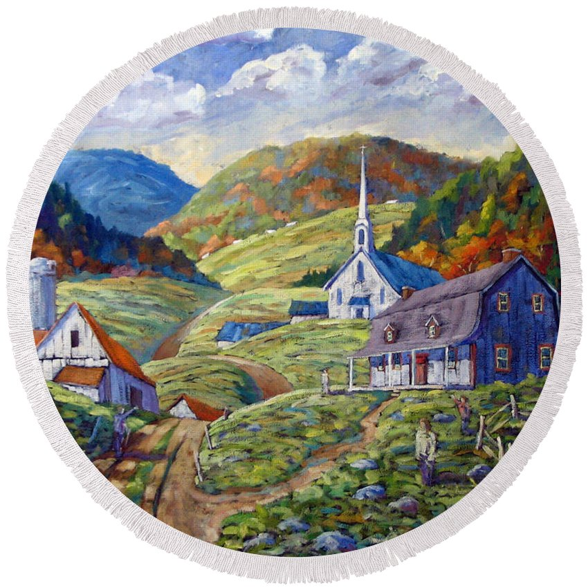 Landscape Round Beach Towel featuring the painting A Day In Our Valley by Richard T Pranke
