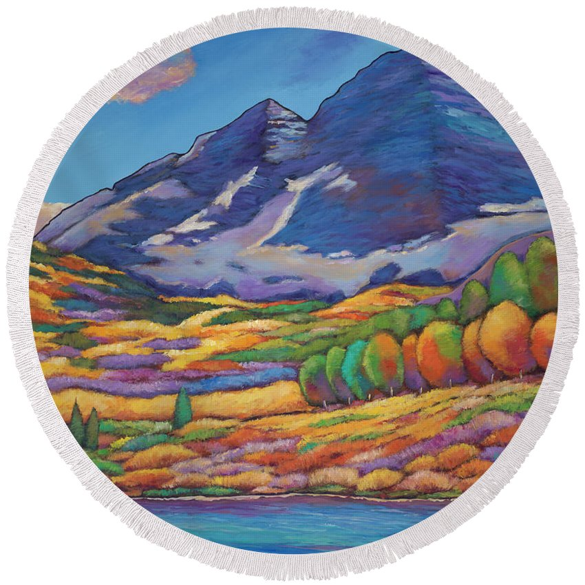 Aspen Tree Landscape Round Beach Towel featuring the painting A Day In The Aspens by Johnathan Harris