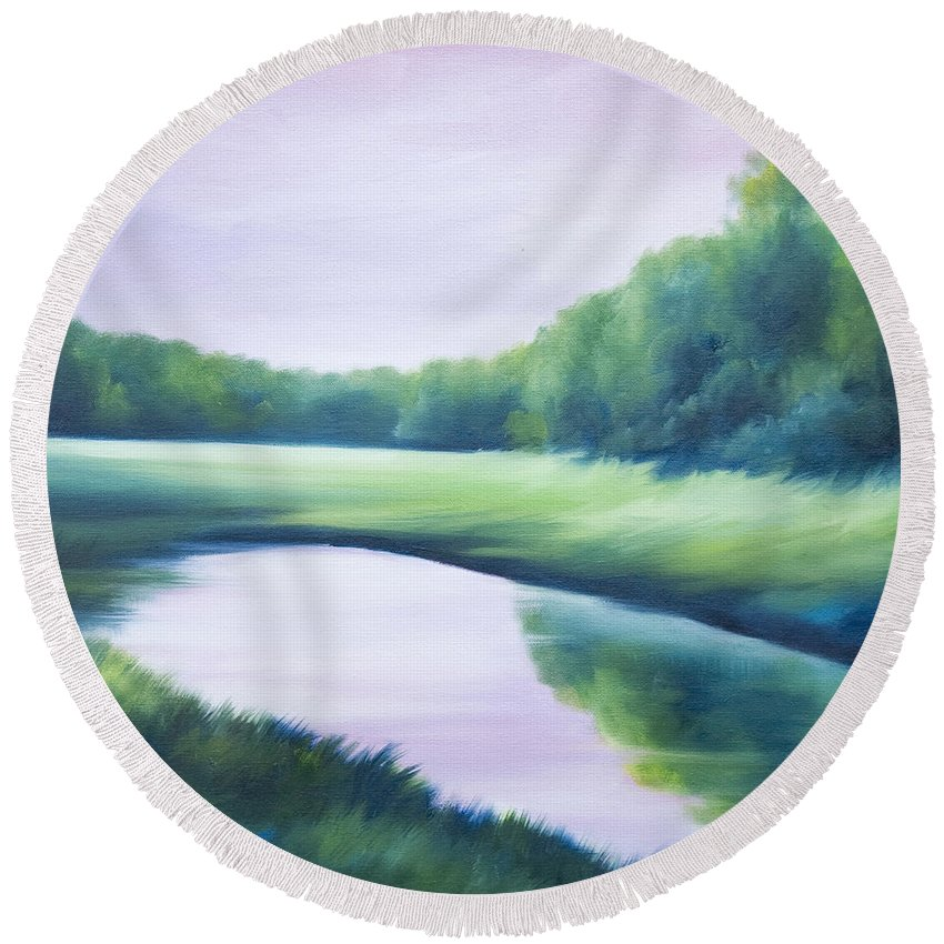 Nature; Lake; Sunset; Sunrise; Serene; Forest; Trees; Water; Ripples; Clearing; Lagoon; James Christopher Hill; Jameshillgallery.com; Foliage; Sky; Realism; Oils; Green; Tree; Blue; Pink; Pond; Lake Round Beach Towel featuring the painting A Day In The Life 1 by James Christopher Hill