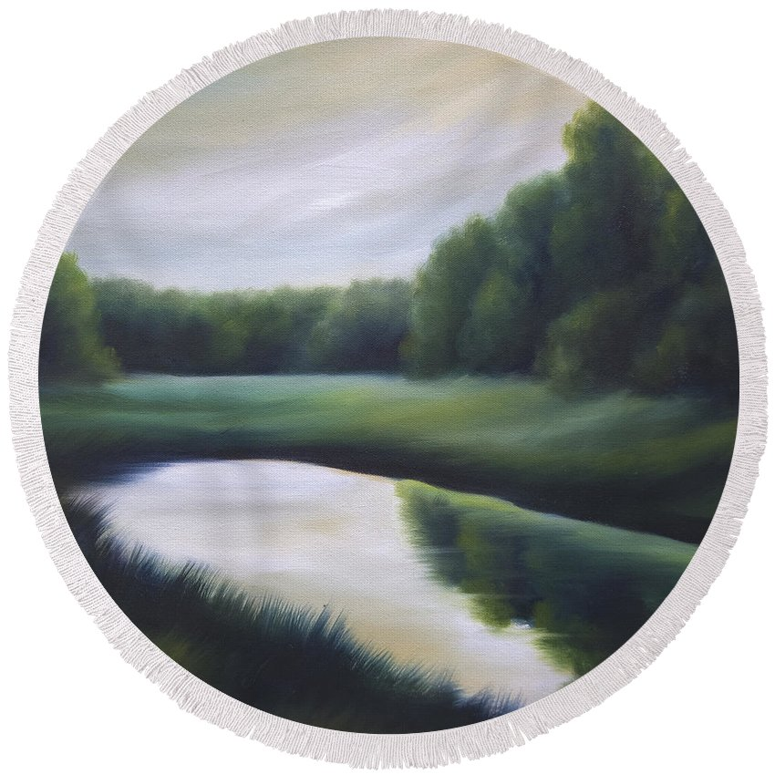 Nature; Lake; Sunset; Sunrise; Serene; Forest; Trees; Water; Ripples; Clearing; Lagoon; James Christopher Hill; Jameshillgallery.com; Foliage; Sky; Realism; Oils; Green; Tree Round Beach Towel featuring the painting A Day In The Life 3 by James Christopher Hill