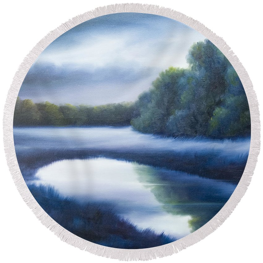 Nature; Lake; Sunset; Sunrise; Serene; Forest; Trees; Water; Ripples; Clearing; Lagoon; James Christopher Hill; Jameshillgallery.com; Foliage; Sky; Realism; Oils; Green; Tree; Blue; Pink; Pond; Lake Round Beach Towel featuring the painting A Day In The Life 4 by James Christopher Hill