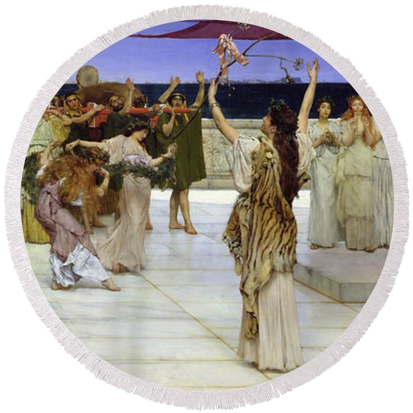 Dedication Round Beach Towel featuring the painting A Dedication To Bacchus by Sir Lawrence Alma Tadema