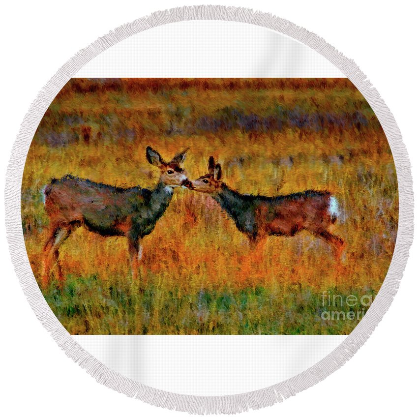 Round Beach Towel featuring the photograph A Deer Kiss by Blake Richards