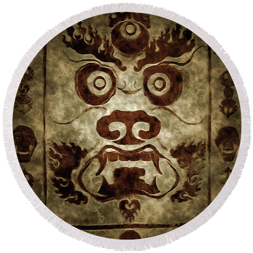Parchment Illustration Round Beach Towel featuring the digital art A Demonic Face by Mario Carini
