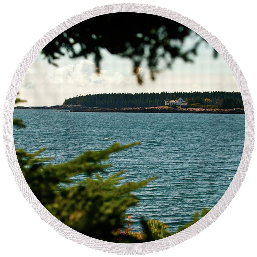 acadia National Park Round Beach Towel featuring the photograph A Distant Light by Paul Mangold