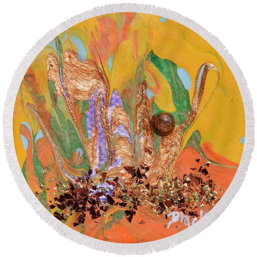 Modern Round Beach Towel featuring the painting A Drop Of Golden Sun by Donna Blackhall