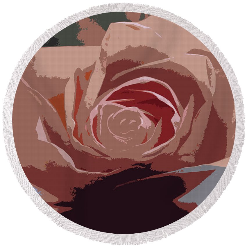 Pink Round Beach Towel featuring the photograph A Dusty Rose-d by Michiale Schneider