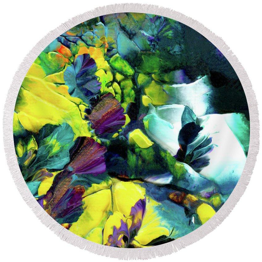 Flowers Round Beach Towel featuring the painting A Fairy Wonderland by Nan Bilden