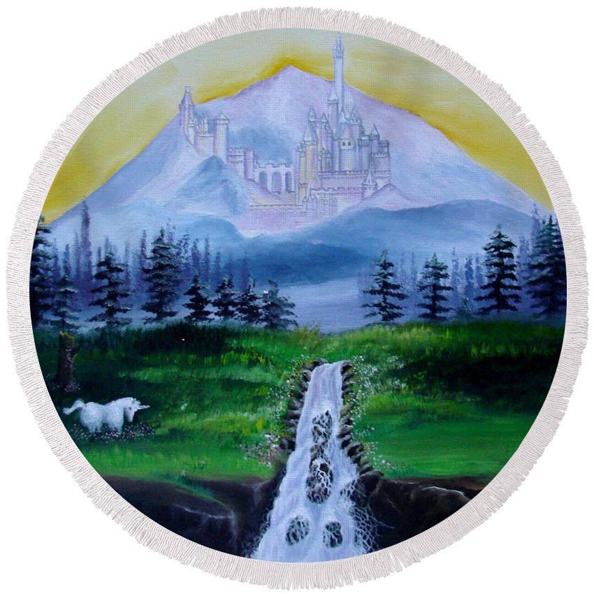 Landscape Round Beach Towel featuring the painting A Fairytale by Glory Fraulein Wolfe