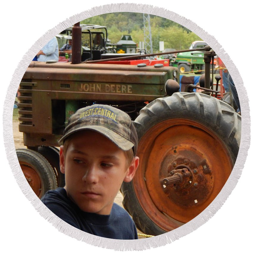 Tractor Round Beach Towel featuring the photograph A Farmer's Son by Curtis Tilleraas