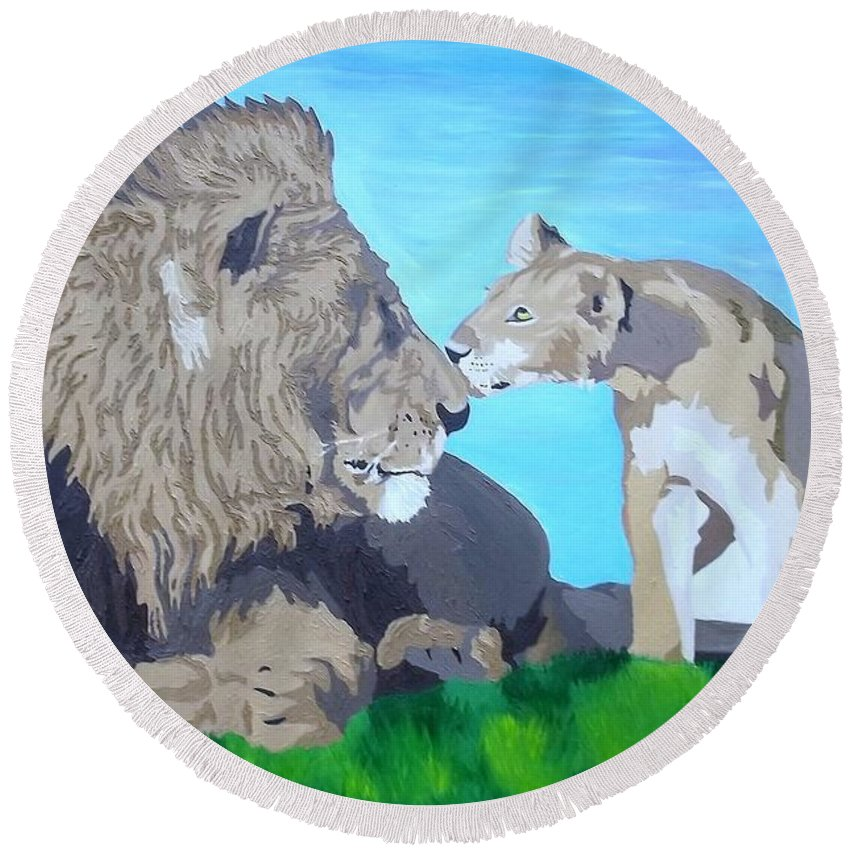 Lion Round Beach Towel featuring the painting A Father's Pride by Amy Pugh