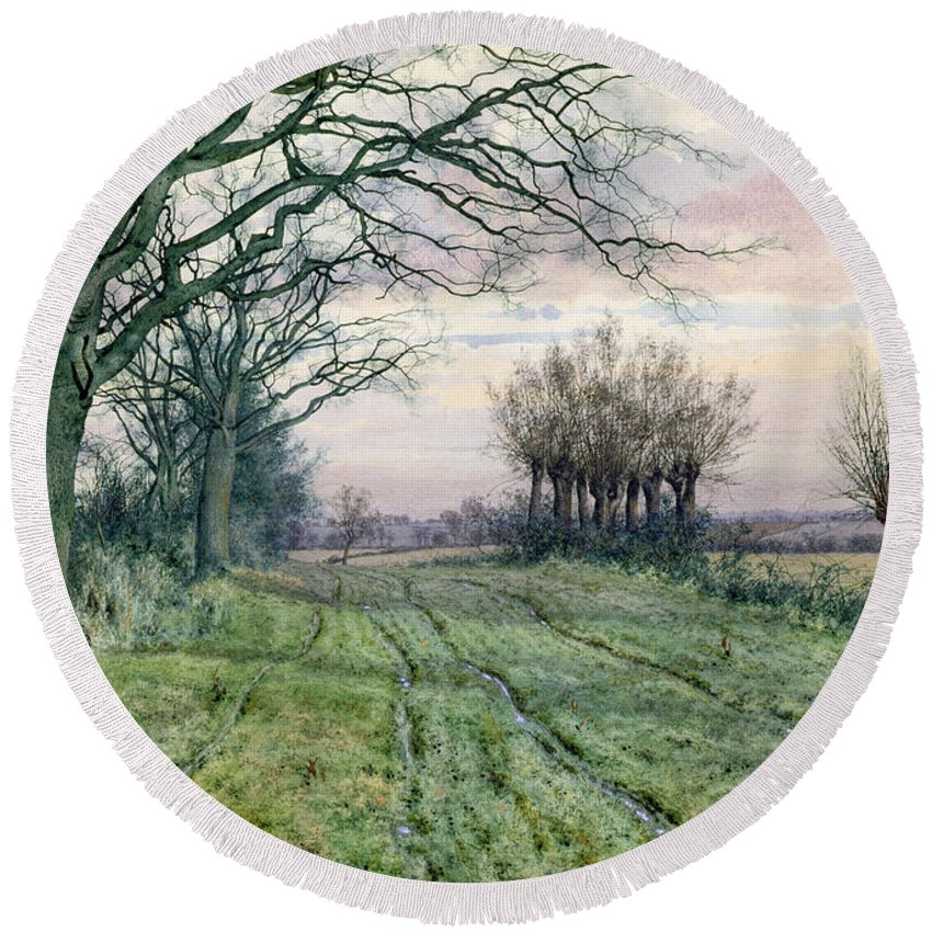 Fenland Round Beach Towel featuring the painting A Fenland Lane With Pollarded Willows by William Fraser Garden