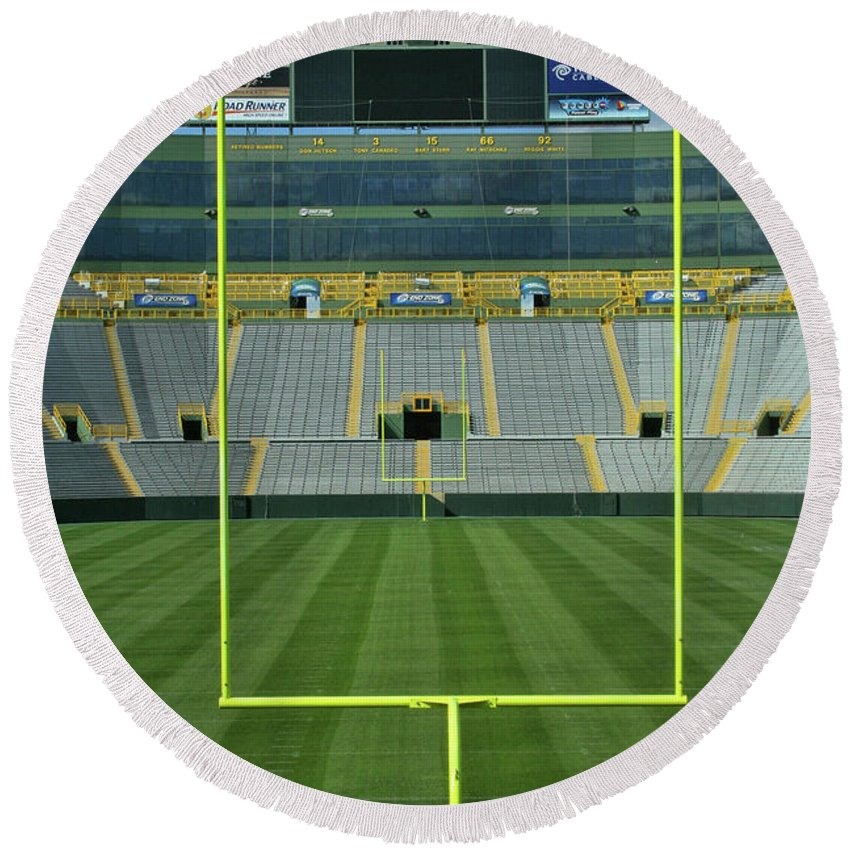 Lambeau Field Round Beach Towel featuring the photograph A Field Of Honor by Tommy Anderson