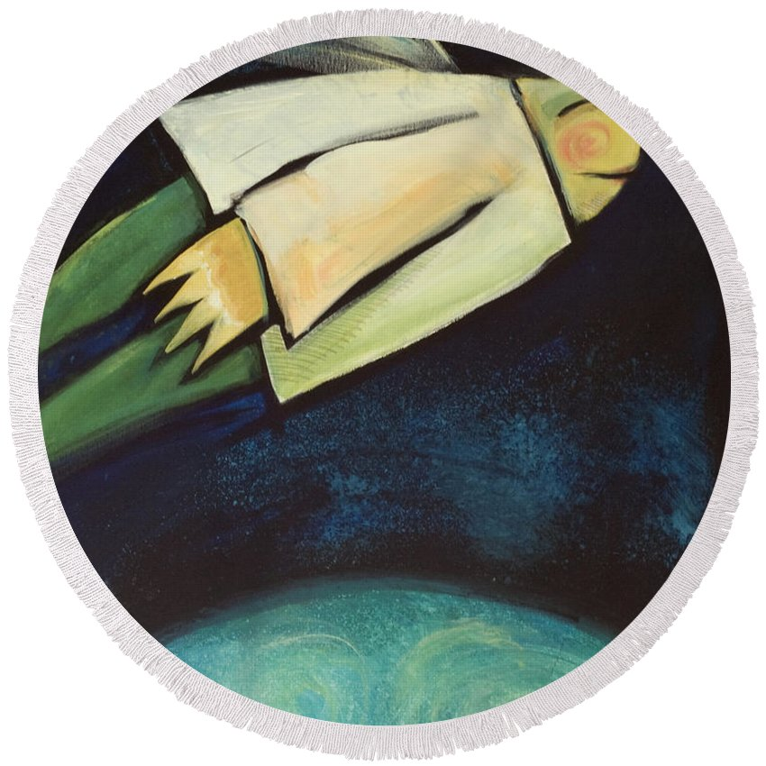Universe Round Beach Towel featuring the painting A Finger Two Dots Then Me by Tim Nyberg