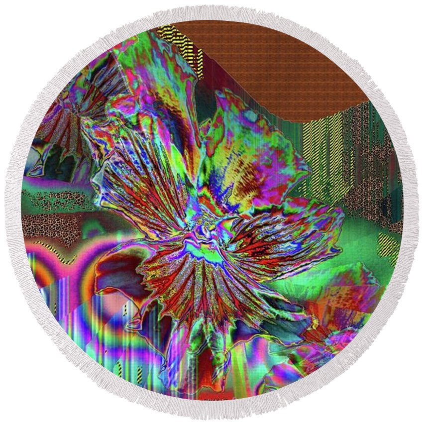 Abstract Round Beach Towel featuring the photograph A Foiled Pansy by Jeff Swan
