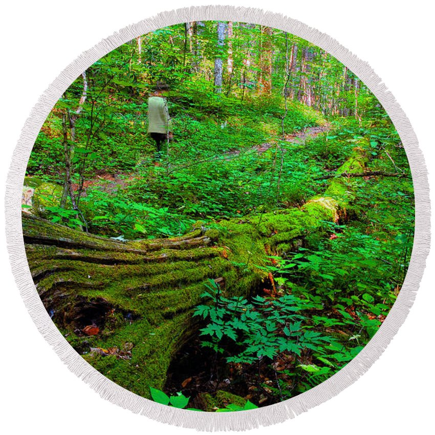 Hiking Round Beach Towel featuring the painting A Forest Stroll by David Lee Thompson