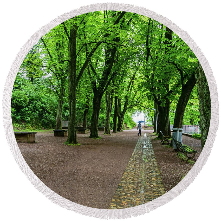 Freiburg Germany Round Beach Towel featuring the photograph A Freiburg Germany Park by Robert VanDerWal