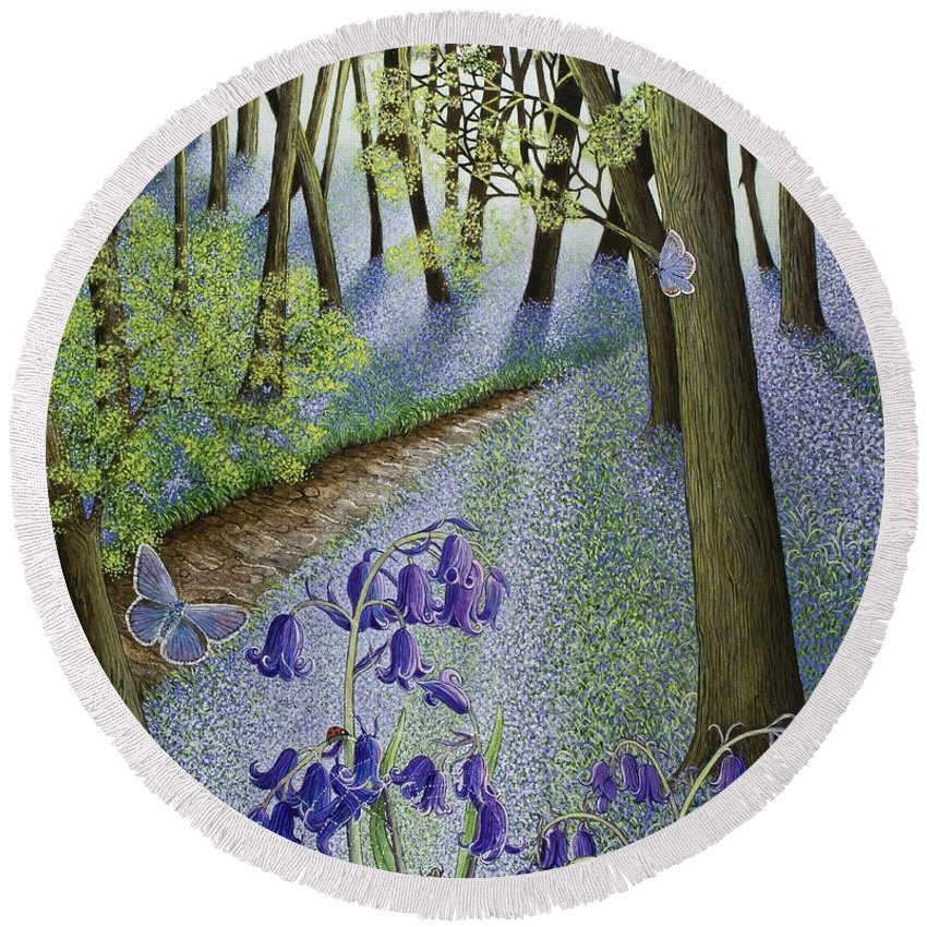Woods; Flowers; Bluebells; Bluebell; Flower; Tree; Trees Round Beach Towel featuring the painting A Fresh Start by Pat Scott