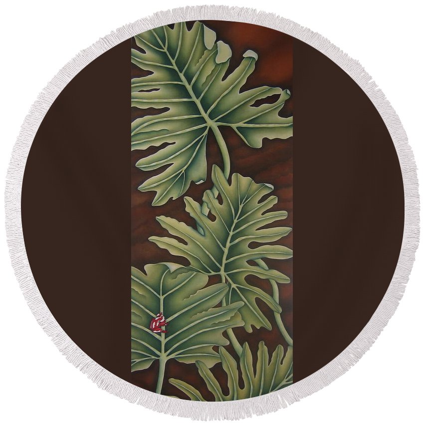 Frog Round Beach Towel featuring the painting A Frog On A Philodendron by Jeniffer Stapher-Thomas